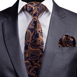 Accessories - Mens 100% Silk Tie Set Navy